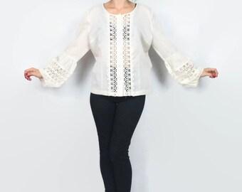 60s 70s Hippie Boho Bell Sleeve Blouse White Cotton Cream Lace Shirt Festival Prairie Button Down Sheer Lace Floral Blouse (L)