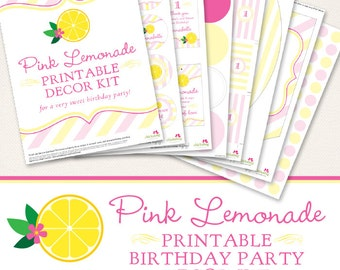 Pink Lemonade birthday party printable decor kit - Over 45 pages of sweet printables