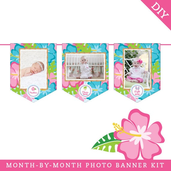 INSTANT DOWNLOAD Luau Party DIY Printable Photo Banner Kit