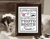 Smile! Photo Booth Party Sign 8 X 10 in. Wedding Event DIY Instant Download Printable, Photo Prop Sign, Hot Pink Lips, Mustache