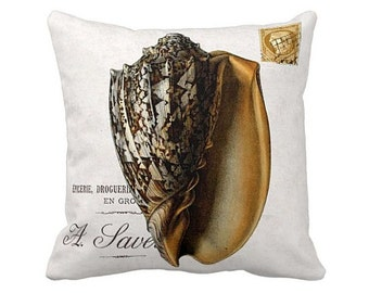 Pillow Cover Gold Conch Shell