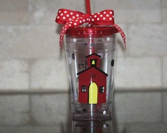 Personalized teacher gift - 16oz Insulated cup with school house and polka dots