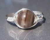 Large Silkstone Ring Argentium Sterling Silver Wire Wrapped Ring