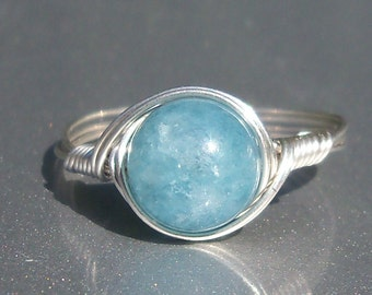 Lg Blue Sponge Quartz Argentium Sterling Silver Wire Wrapped Ring
