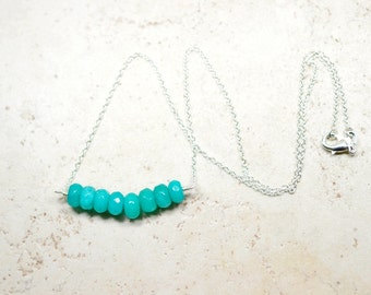 Peacock Green Gemstone Jade Necklace, Teal Stone Bar Cluster, Minimalist Jewelry, Modern Layering Necklace