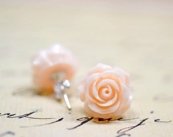 Blush Rose Earrings, 14mm Apricot Flowers Pastel Colored Retro Jewelry, The Rosie Large