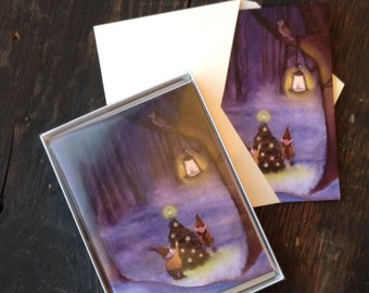 Christmas Cards Set of 12 Cards - Gnome Christmas Greeting Cards Boxed Set - Gnome Watercolor Christmas Cards