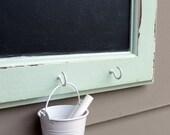 mint cabinet door chalkboard with hooks