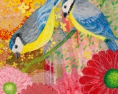 High quality blank greeting card professionally printed from an original mixed media painting called Blue Tits by Claire Leggett