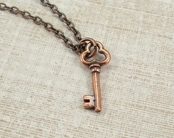 Skeleton Key Necklace, Antique Copper Skeleton Key Charm on a Copper Cable Chain