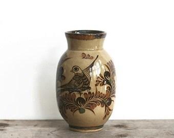 Vase, Ceramic Vintage Carlos Villanueva Vase Hand Painted Bird Mexico Folk Art Neutral Brown