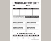 Learning & Activity Worksheet: printable pdf sheet