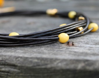 Black Leather Necklace Multi-Strand Amber Gold Modern Classic Yellow Amber Beaded Summer Style Jewelry