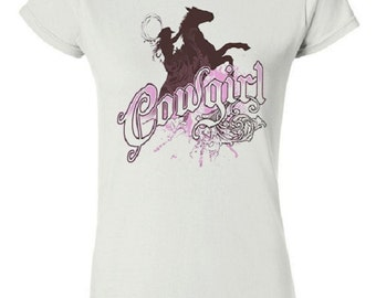 Cowgirl TShirt - Graphic Tee - Womens Short Sleeve Cotton Tee - Womens Cowgirl Shirt