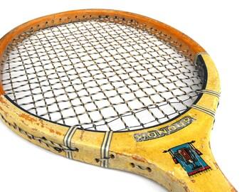 1940s-50s Tennis Racket Regent Honour - Vintage Laminated Construction War Era Sports Collectible Mens Room Home Decor Man Cave Bachelor Pad