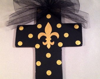SALE - Black Hanging Cross with Gold Fleur de Lis