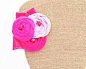 Bright Pink Ombre Rosette Flower Fascinator, Interchangable Flower Clip, Flower Brooch, Flower Sash