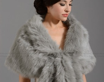 Silver faux fur wrap bridal wrap faux fur shrug faux fur stole faux fur shawl faux fur cape A001