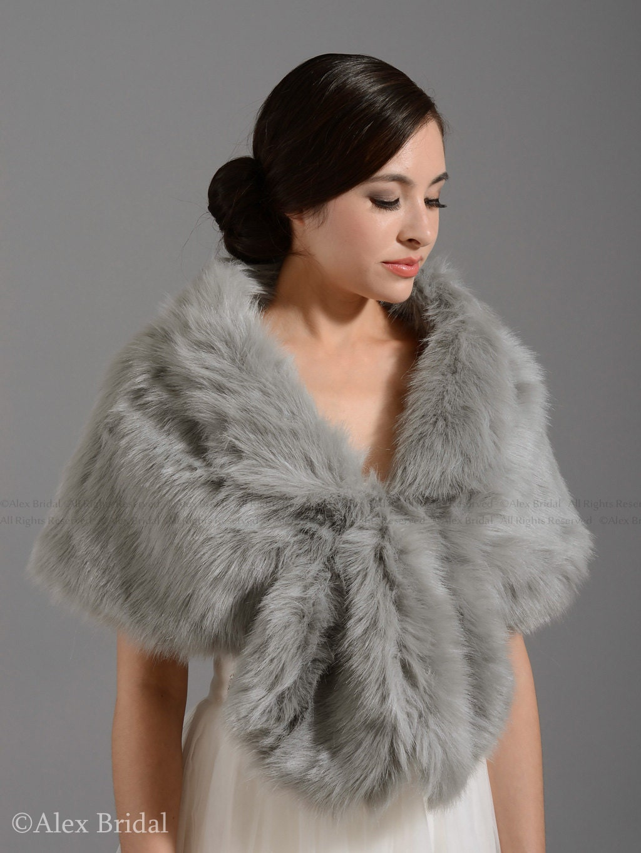 Silver faux fur wrap bridal wrap faux fur shrug faux fur stole for Fur shrug for wedding dress