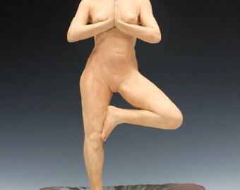Yoga Art Figure Sculpture, Tree Pose Ceramic Figurine Nude, Anjali Mudra, Mature Erotic Body Statue