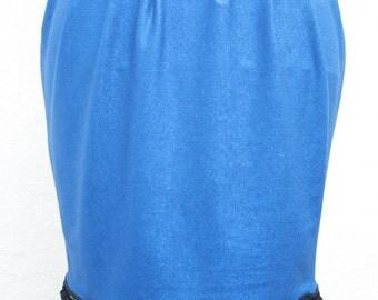 sexy hand made blue glittery metallic pom pom hem skirt S UK 8-10 o.o.a.k handmade original individual bold