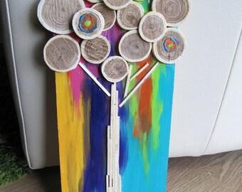 Tree wood art,wood slices,tree,painted,nature