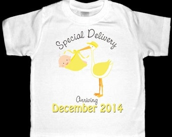 Special Delivery Pregnancy Announcement Shirt or Bodysuit - Personalized with ANY Date