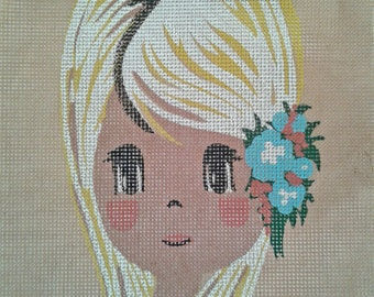 Vintage girl petit point canva