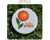 Hello Spring Circle Flower Cross Stitch Pattern Instant Download