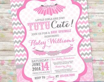 Tutu Cute Baby Shower, Baby Sprinkle, Tutu Baby Shower, Tutu Thrilled, Tutus Baby Shower Invite, Printable Invitation, Baby Girl Shower