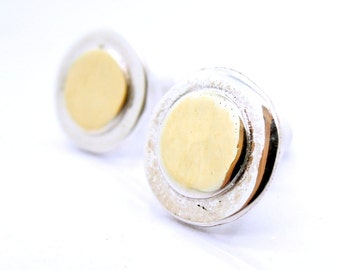 Round post gold and silver earrings