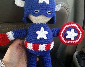 Crocheted Superhero Captain America Amigurumi Doll, Made to order