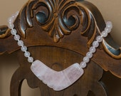 Vintage Carved Rose Quartz Hawaiian Necklace