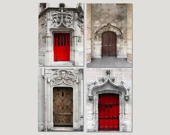 SALE, Door Prints, Paris Photography, Red Door, Brown Door, Rustic Wall Art- Neutral, Architecture, Set of 4 Prints