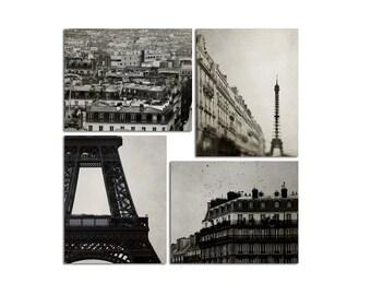 SALE, Paris Photography, Black, Brown, Neutral, Rustic, Set of 4 Prints, Gray, Eiffel Tower, Paris, Save 50%