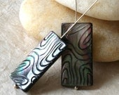 Carved Black Lip Shell Rectangle Beads - Jewelry Making Supplies - Shell Beads 14x30mm (2 beads)