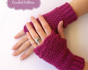 Fingerless Gloves Crochet Pattern No.913 Shell Trim Glove Crochet Pattern Digital Download