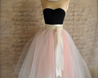Womens blush tulle skirt. Ivory and antique pink tulle lined in ivory satin. Weddings and formal wear.
