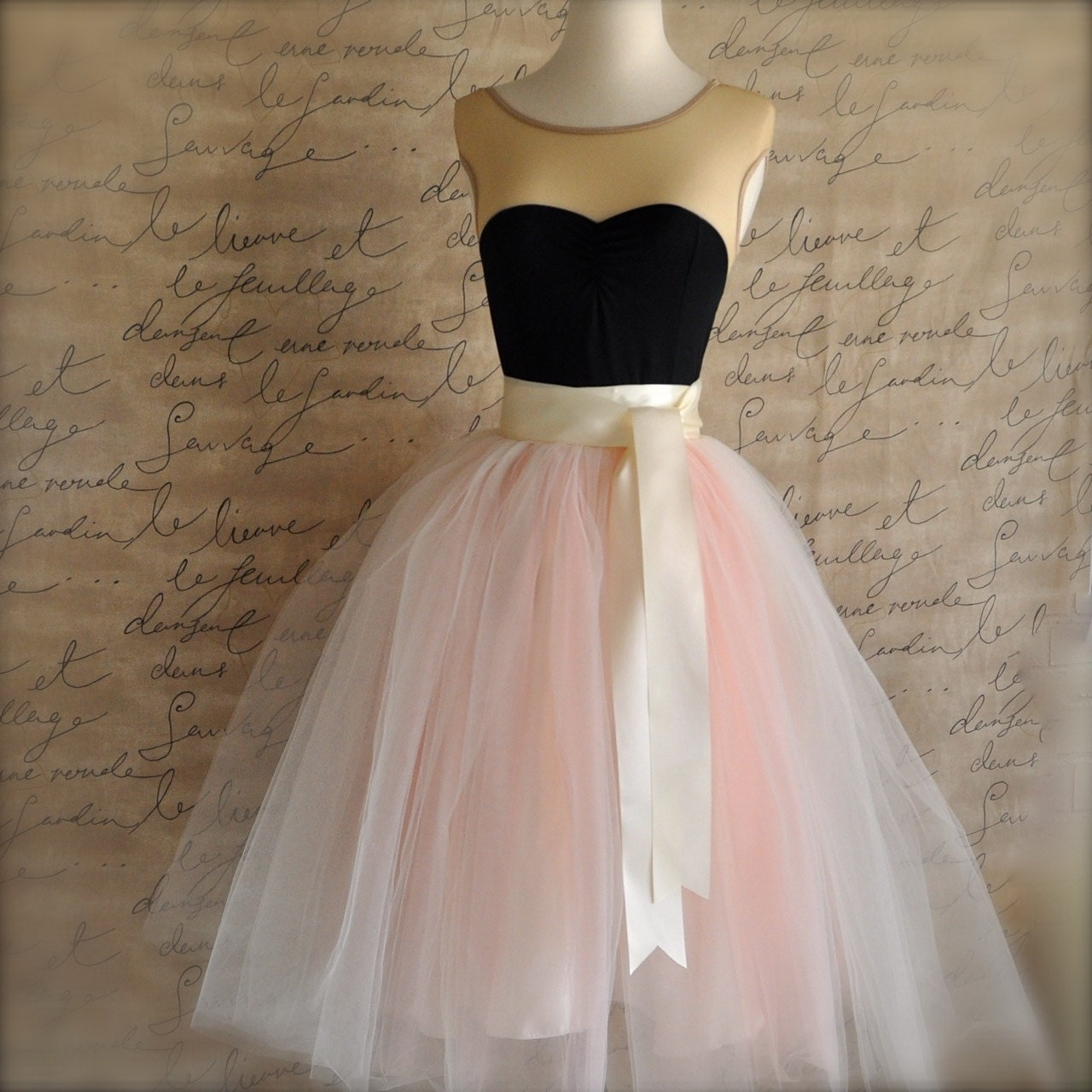 womens blush tulle skirt ivory and antique pink tulle lined