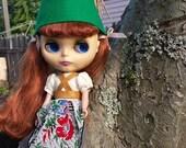 Green felt Gnome Cap Hat helmet for Blythe