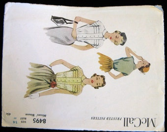 """Vintage 50s McCall Misses' Blouse Pattern 8495, size 14, 32"""" Bust, Complete, Partially UC"""