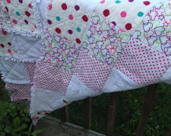 Bright and Happy Hearts Flannel Rag Quilt