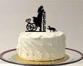 ADD YOUR CAT Personalized Wedding Cake Topper with Your Initials & Last Name Silhouette Cake Topper Bride + Groom + Pet Cat Monogram
