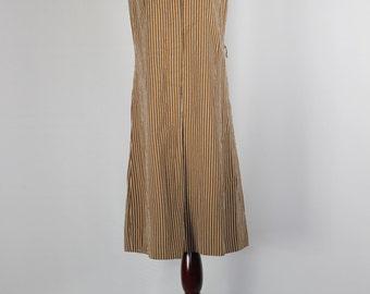 Brown Striped Mod 60s Shift Dress -- Sz Med