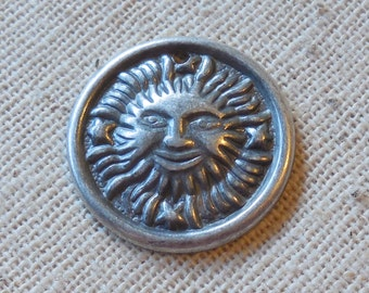 Satin Antique Silver Plated Brass Sun Charms (6) Tribal, Southwestern, Boho