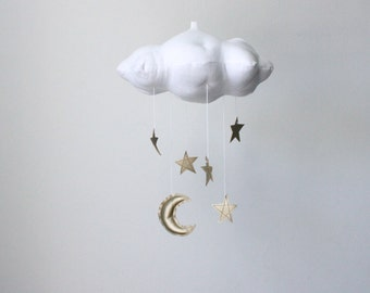 Gold Moon and Star Cloud Mobile- modern fabric sculpture for nursery decor in white linen and metallic faux leather- Free US Shipping
