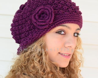 Hand Knitted Hat, Plum Knit Hat,Slouchy Hat, Beret, Ribbed, Chunky Hat, Beanie, Painter Hat