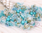 NEW: 4 pcs Aubrey AQUA Blue Vintage FLORAL Patterned - Soft Chiffon with pearls rhinestones Layered Small Fabric Flowers, Hair accessories