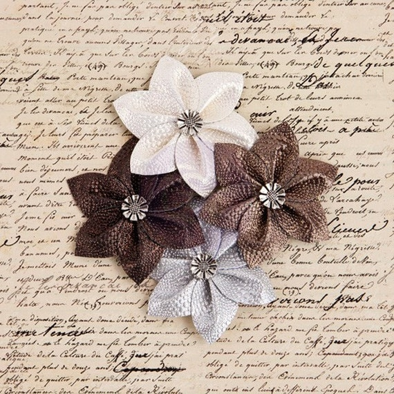 """NEW: Prima Briella """"BLOOMING"""" 574871 Shimmery Metallic Leather Fabric FLowers. Neutral Earth Tone Shades  Hair Appliques & Embellishments"""
