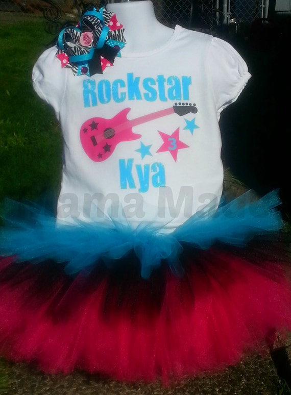 Rockstar Birthday Triple Layered Tutu Set with BODYSUIT Size 6 mo 9 mo 12 mo 18 mo 24 mo